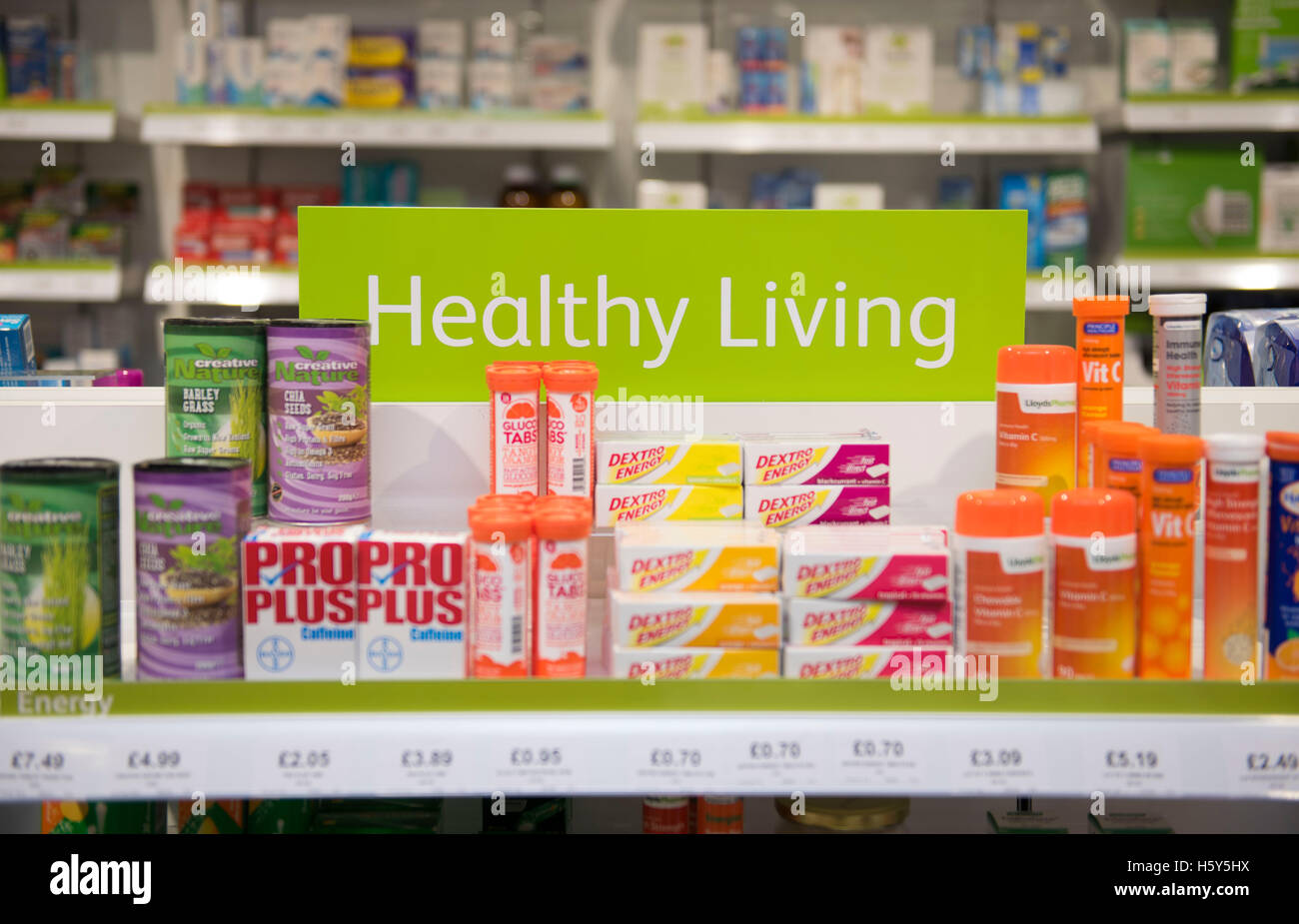 Healthy living cod liver fish oil on display sale on a shelf in a pharmacist store. - Stock Image