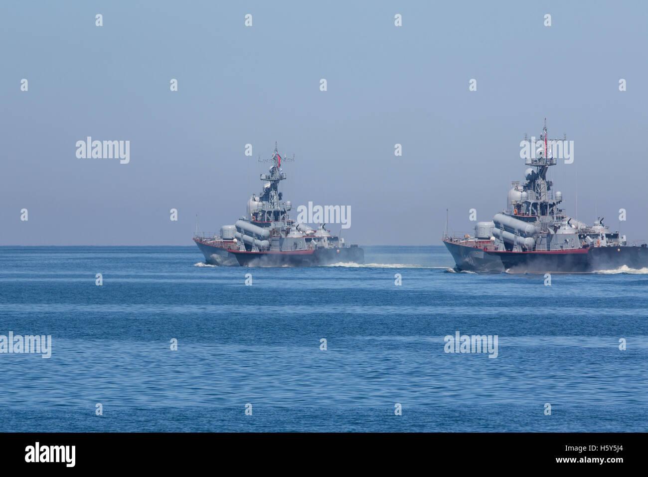 View of the Russian Black Sea Fleet squadron during Navy parade raid in Sevastopol Bay,Crimea Republic - Stock Image