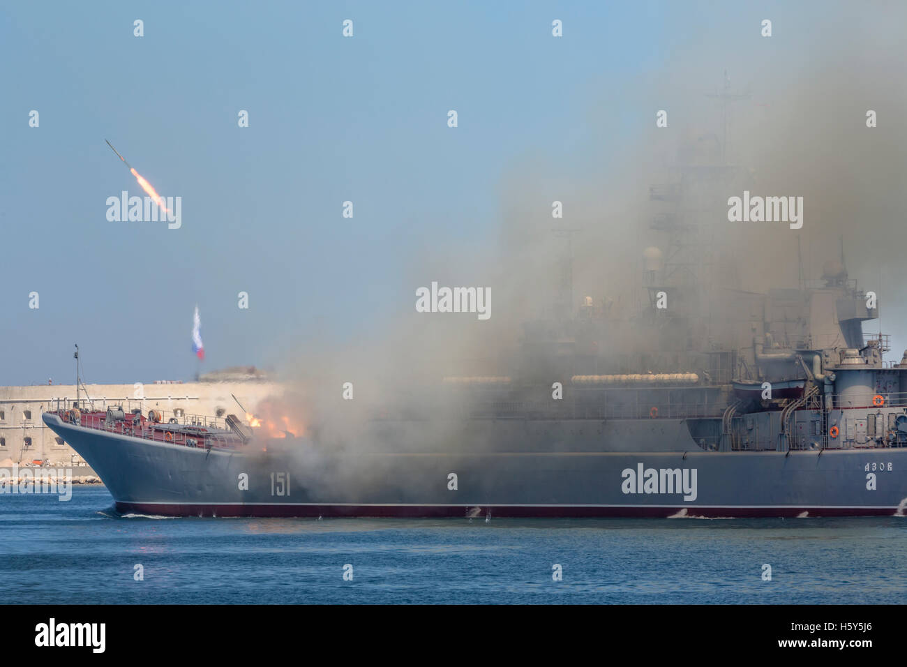 The Large Landing Ship 'Azov' of the Russian Navy makes missiles launch during Marine Parade on the Navy - Stock Image