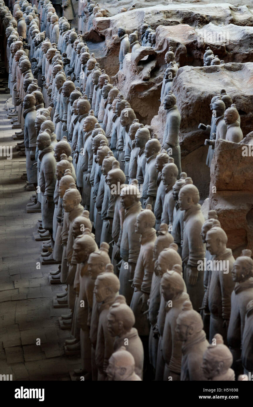 Terracotta Warriors Army, Pit Number 1, Xian, Shaanxi, China, Asia. An ancient collection of sculptures depicting armies of Qin Stock Photo