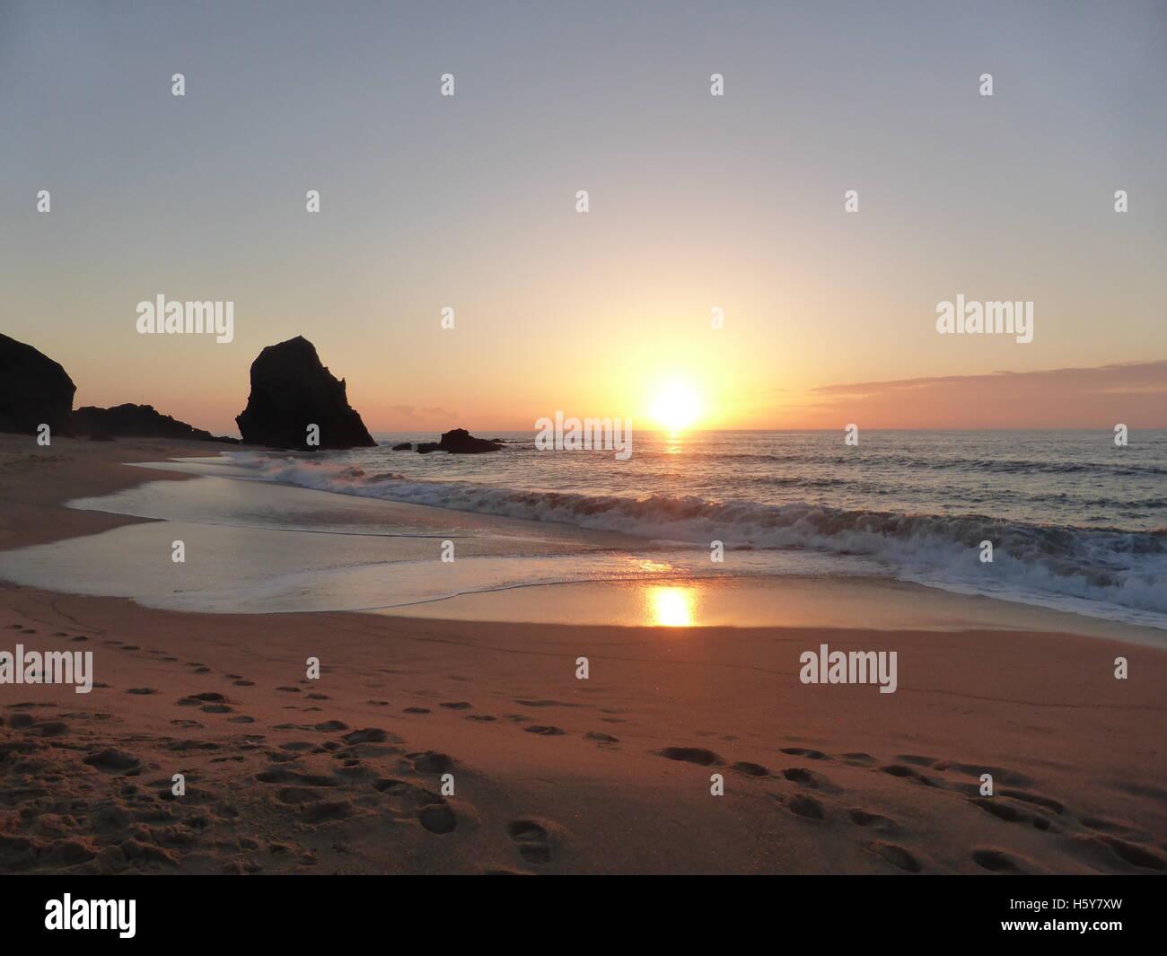 colorful beach in Santa Cruz, Torres Vedras, Portugal - Stock Image