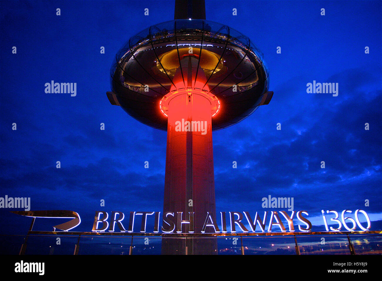 British Airways i360 Observation Tower in Brighton, East Sussex at night. - Stock Image
