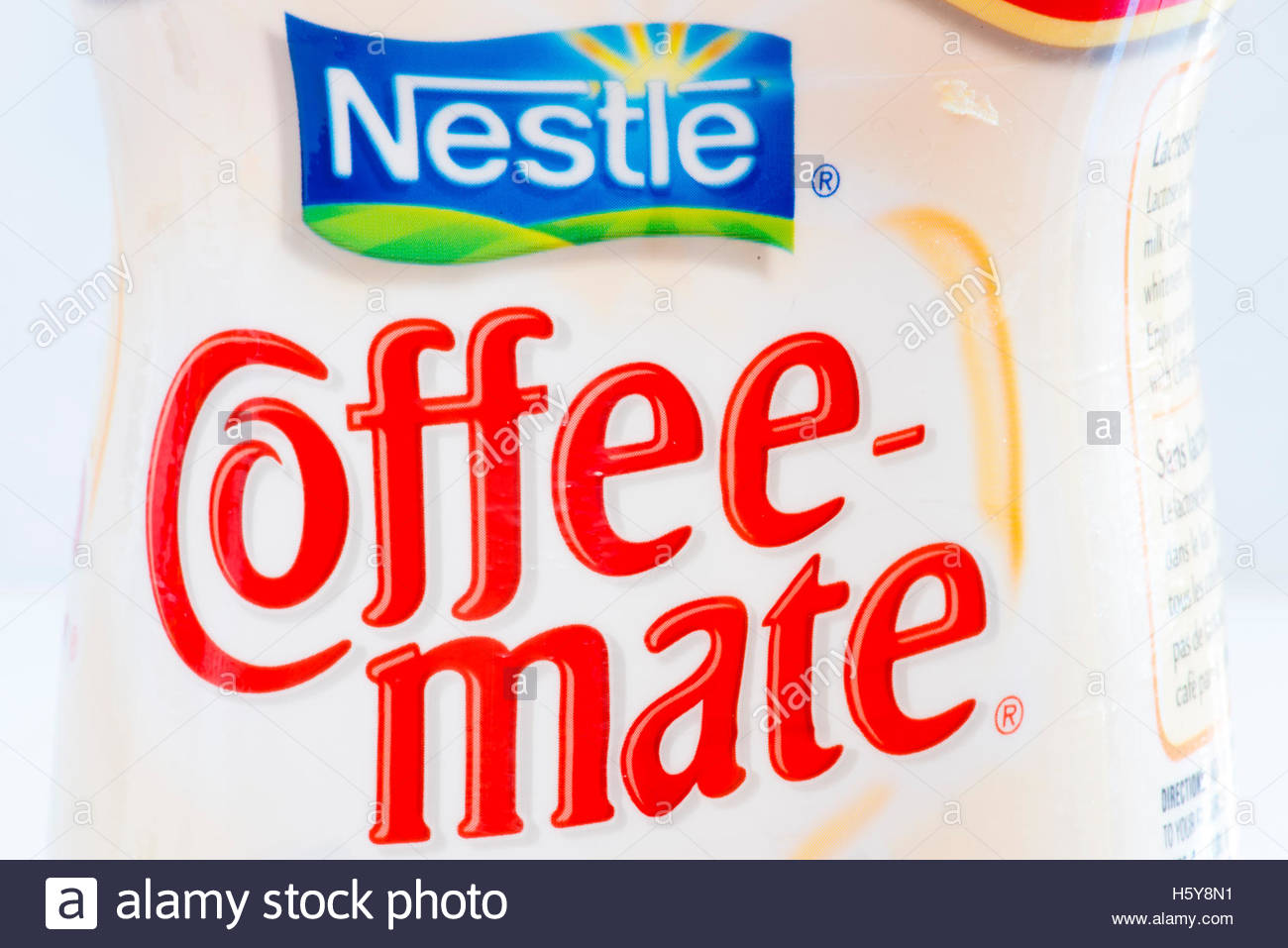 Nestlé Coffee-mate. Coffee-Mate is a non-dairy creamer manufactured by Nestlé, available in powdered, - Stock Image
