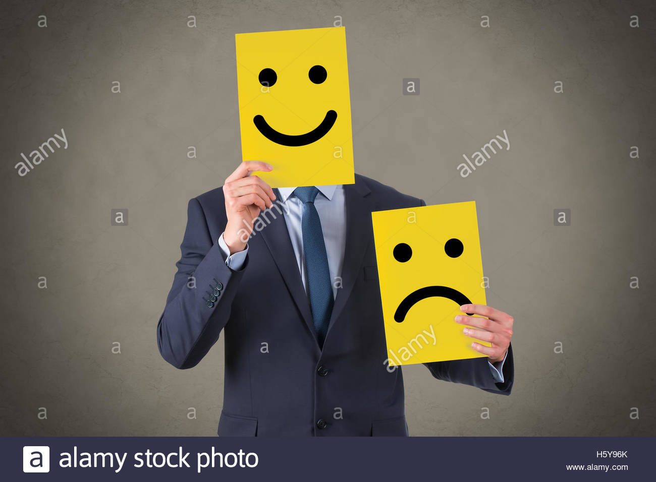 Smile Face Drawing on Yellow Cardboard - Stock Image