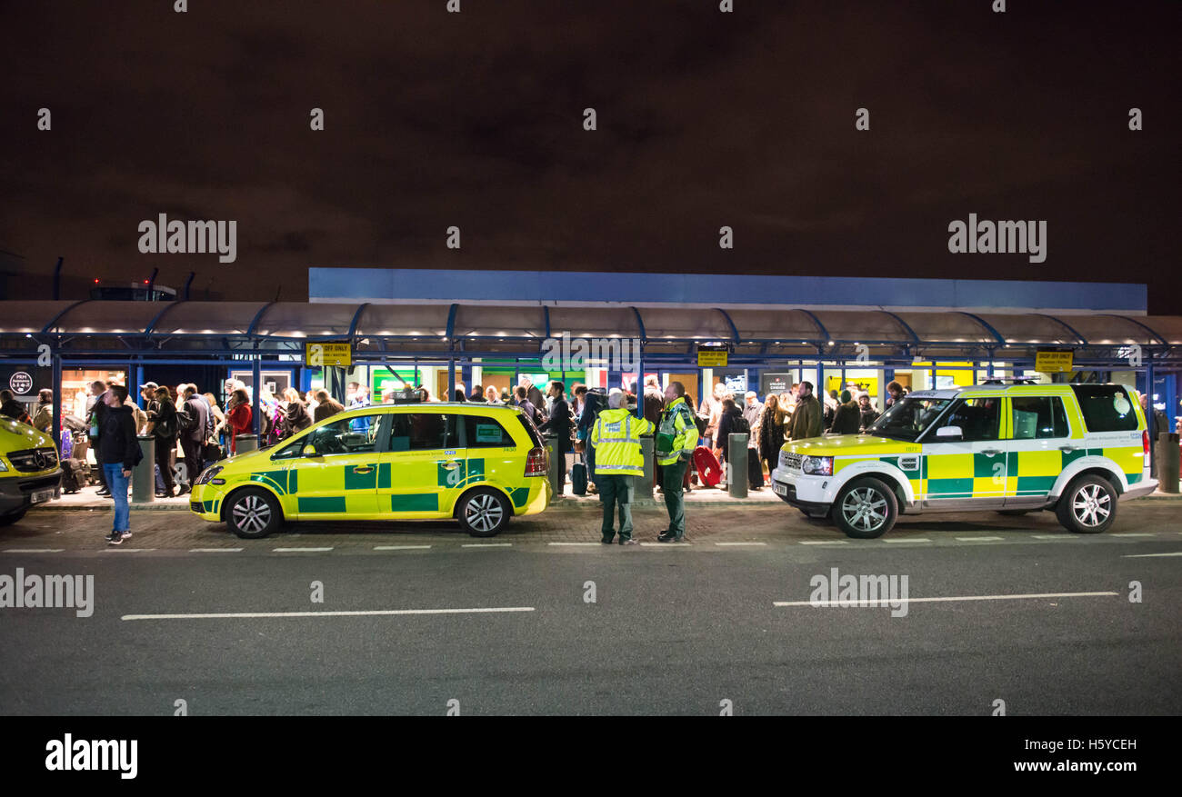 London, UK. 21st October, 2016. London City Airport evacuated in 'chemical' scare. Credit:  Michael Tubi/Alamy - Stock Image