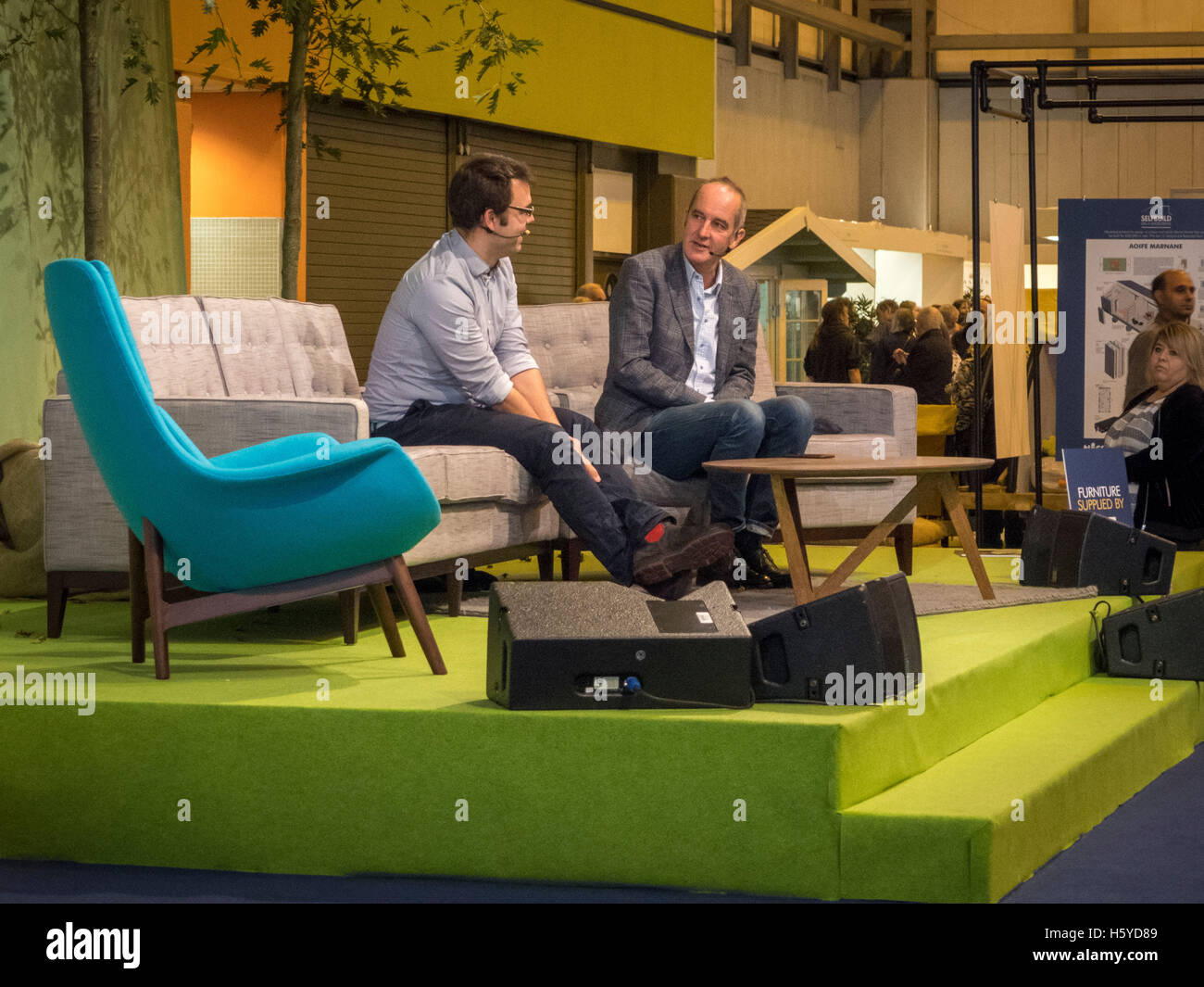 Birmingham, UK. 21st October, 2016. Kevin McCloud, presenter of Grand Designs, interviews architect Matt White in - Stock Image