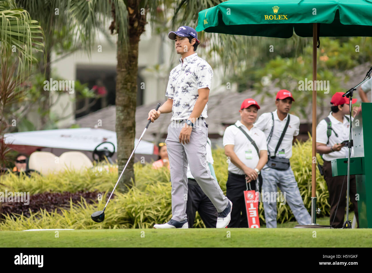 Kuala Lumpur, Malaysia. 22nd Oct, 2016. Round 3 see Ryo Ishikawa getting ready to tee off at CIMB PGA 2016 Championship - Stock Image