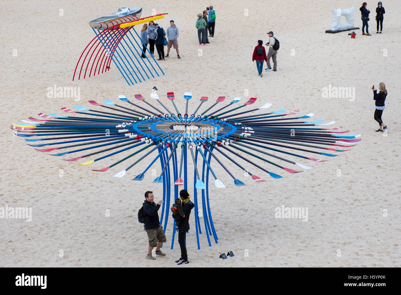 "Sydney, Australia. 23rd Oct, 2016. The annual art exhibition ""Sculpture the Sea"" along the Bondi to Tamarama costal Stock Photo"