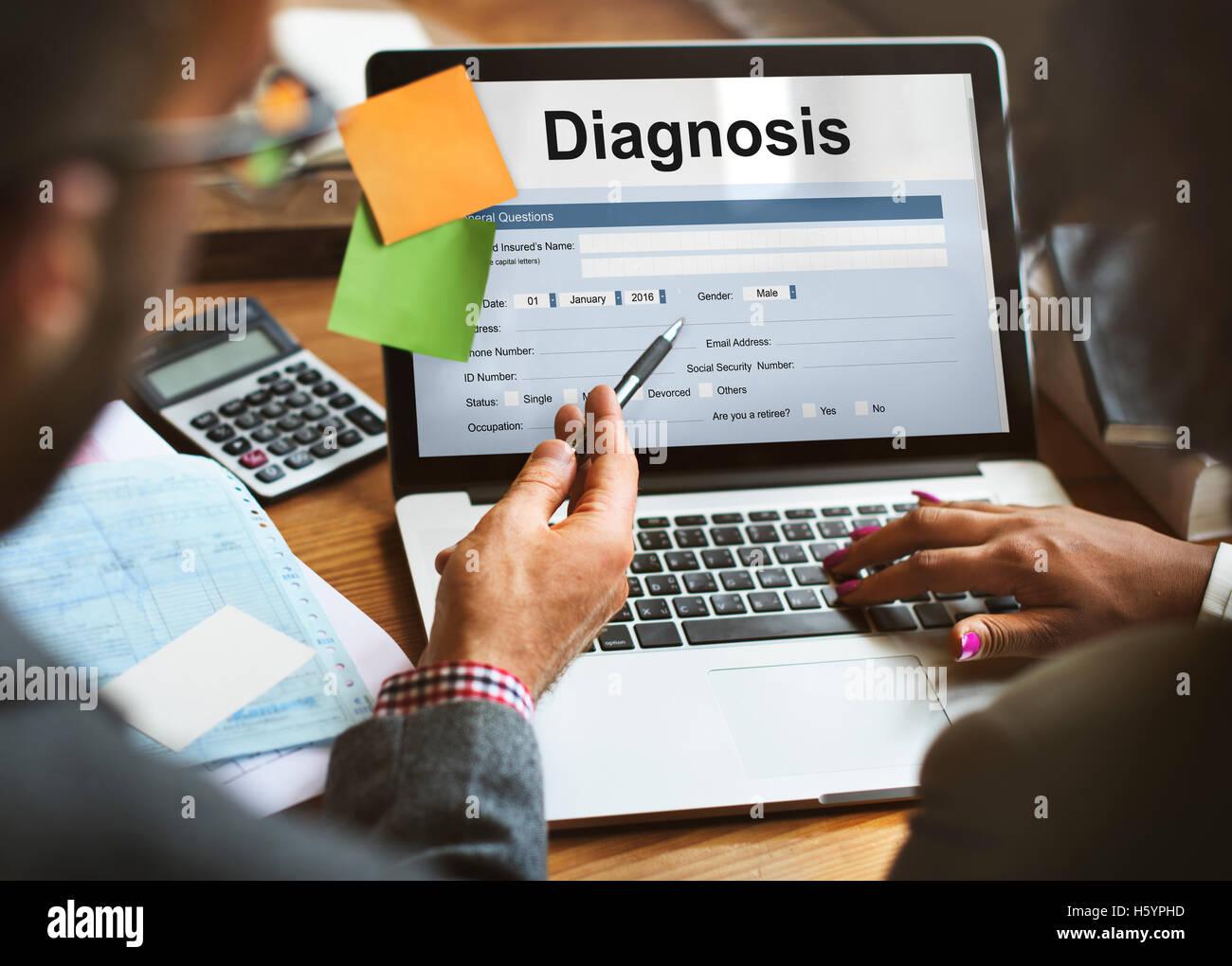 Diagnosis Medical Symptoms Treatment Concept - Stock Image