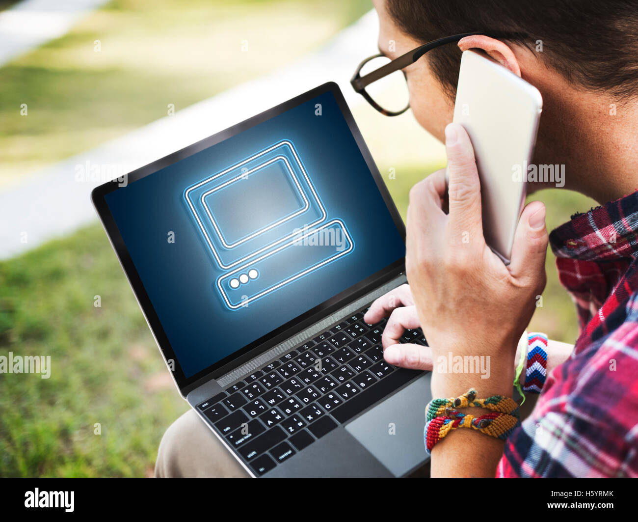 Computer Graphic Connection Digital Technology Concept - Stock Image