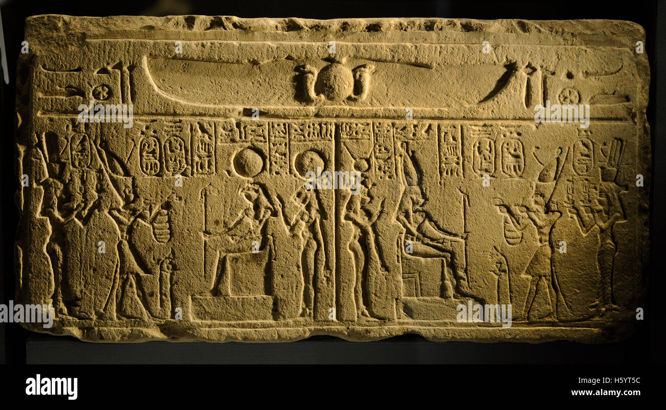 Two scenes depicting Ptolemy II and Arsinoe II giving offerings to the gods. Ptolemaic period (305-31 BC). Relief. - Stock Image
