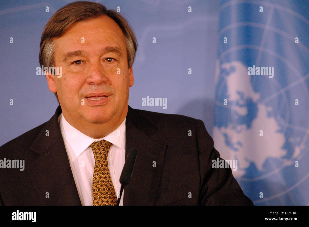 Antonio Guterres (Hochkommissar der Vereinten Nationen fuer Fluechtlingsfragen) - Treffen mit dem deutschen Aussenminister - Stock Image