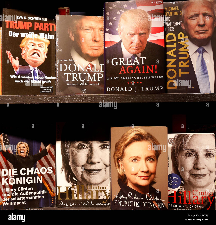Hillary Clinton, Donald Trump auf Buchcover - Symbolbild zum Praesidentschaftswahlkampf in den USA, Berlin. - Stock Image