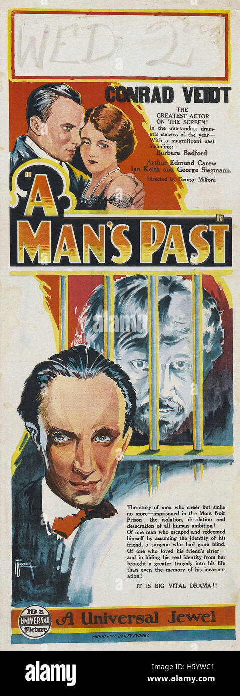 A Man's Past - Movie Poster - Stock Image