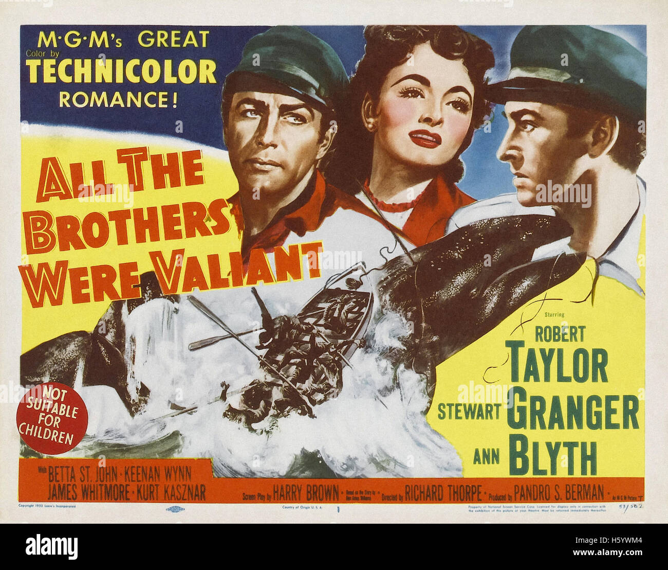 All the Brothers Were Valiant (1953) - Movie Poster - Stock Image