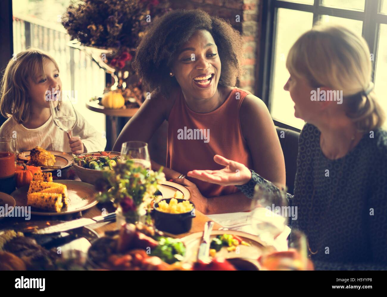 Thanksgiving Celebration Tradition Family Dinner Concept - Stock Image