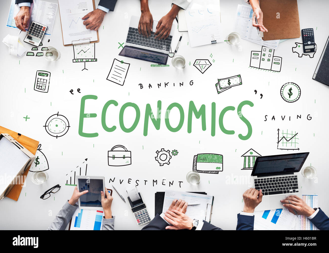 Economics Financial Business Banking Investment Concept - Stock Image