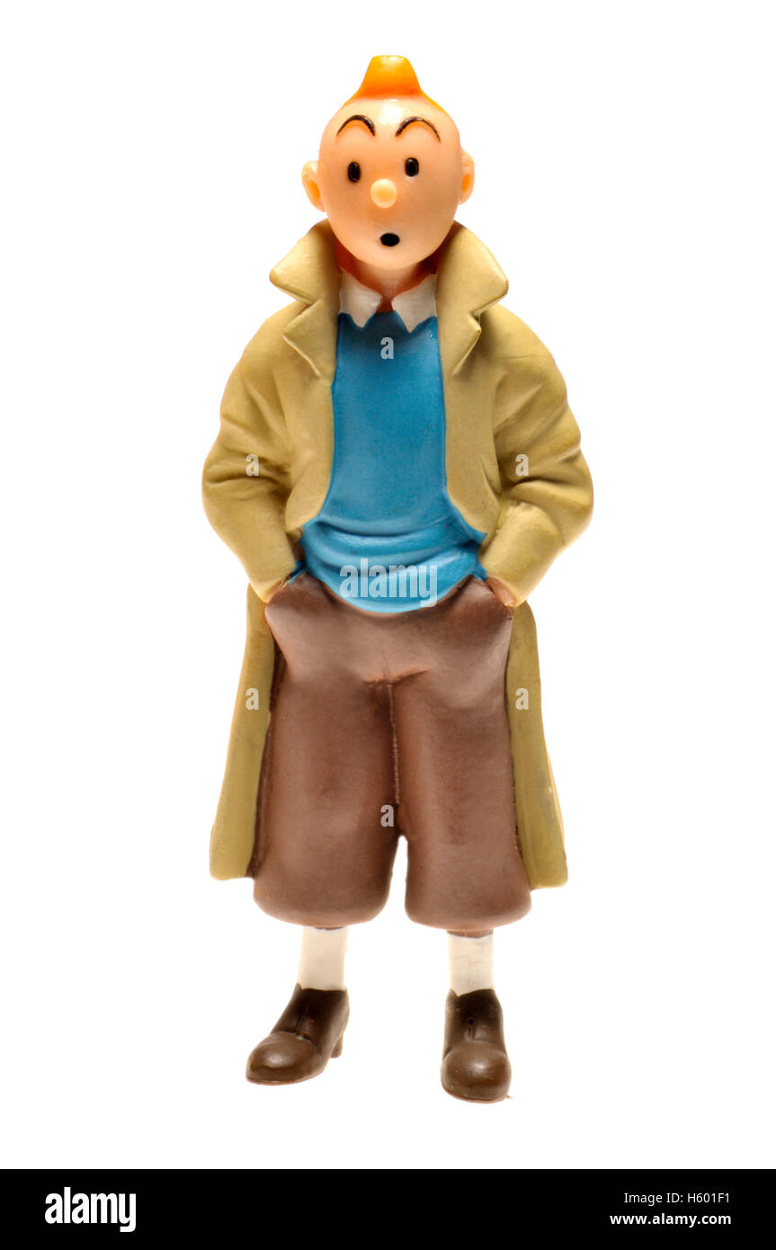 Cartoon character figurine - Tintin (Herge) - Stock Image