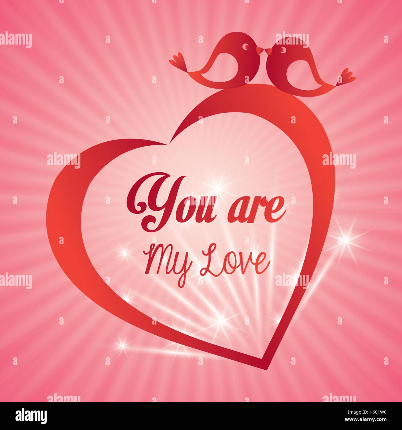 Valentines Day Card You Are My Love Heart Bird Light Background