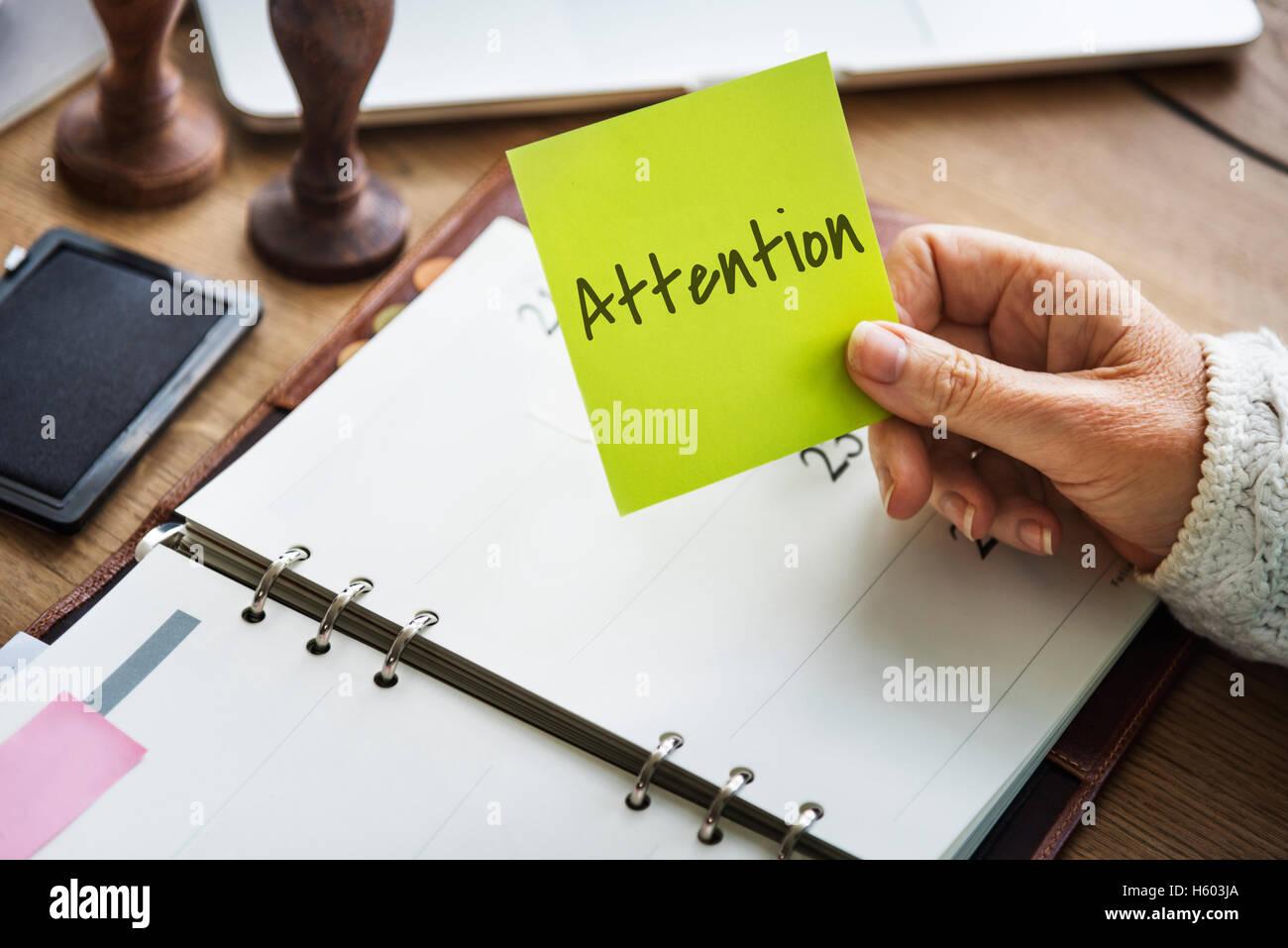 Attention Urgent Planner Agenda Concept - Stock Image