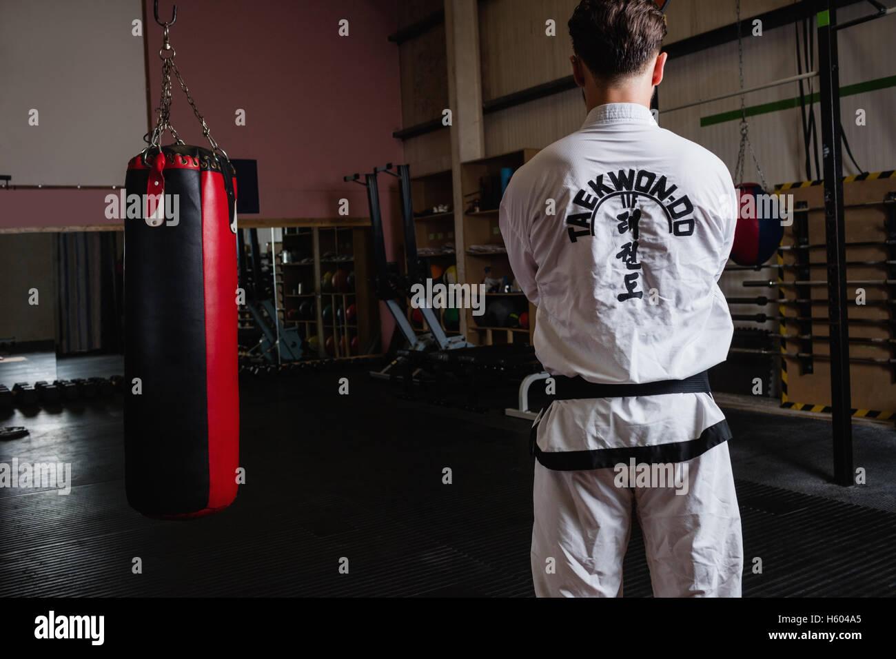 Rear view of man standing beside punching bag - Stock Image
