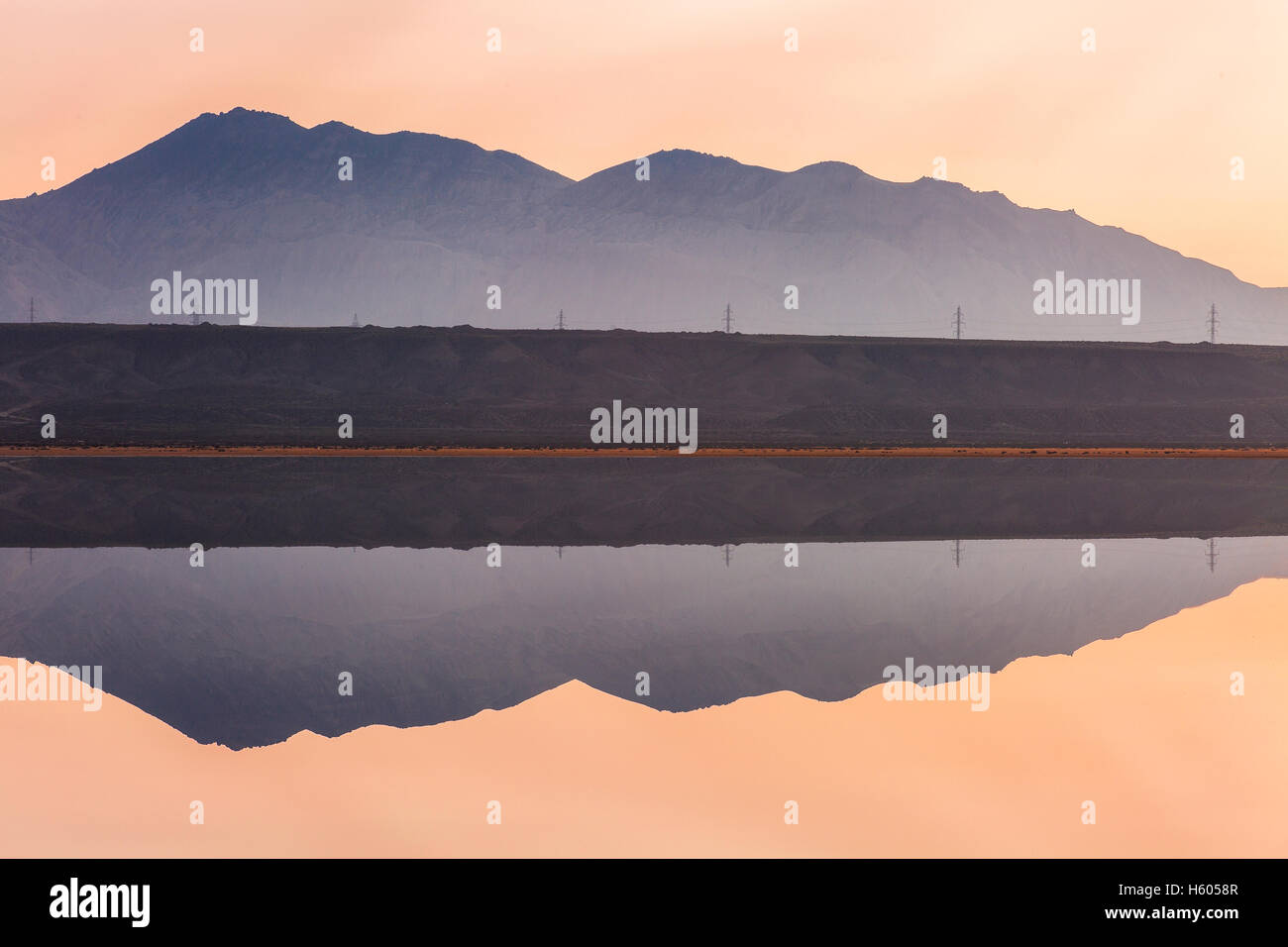 Abstract landscape with water reflection - Stock Image