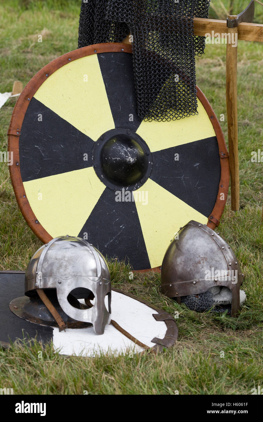 Viking Age Arms,  Armor and Viking Shields - Stock Image