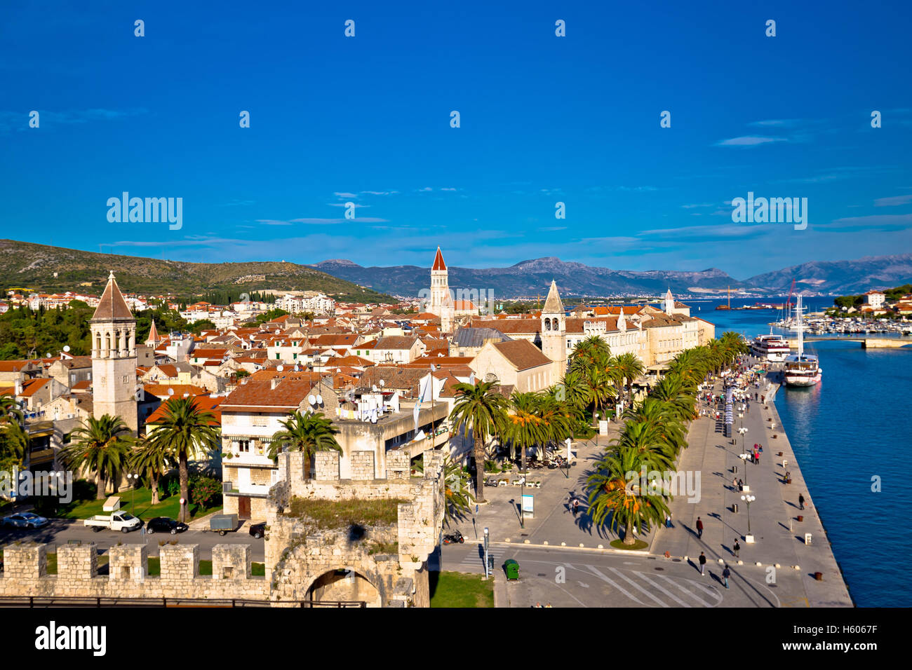 Town of Trogir rooftops and landmarks view, Dalmatia, Croatia - Stock Image