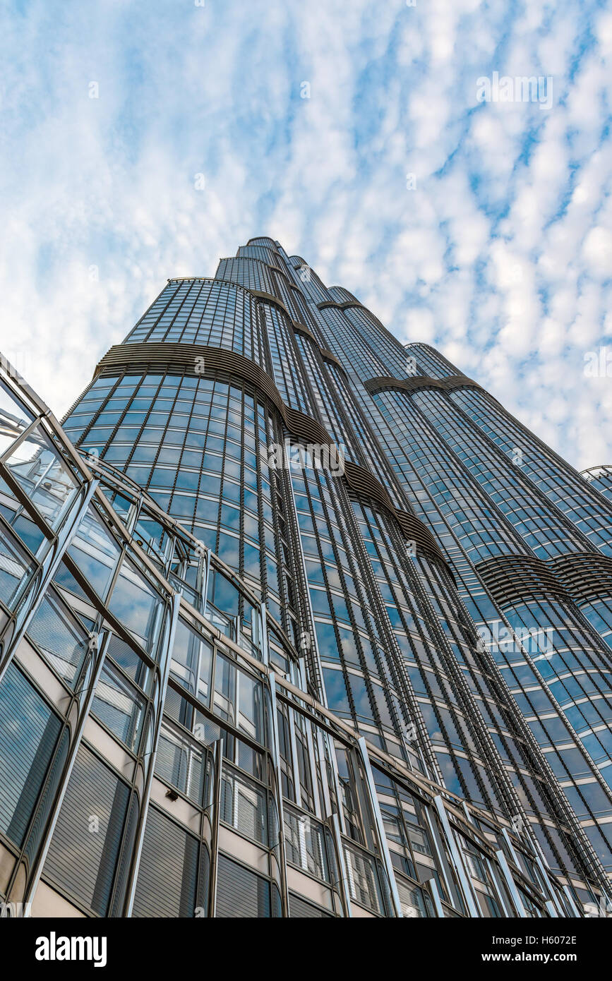 The external facade of the Burj Khalifa, Dubai, the tallest manmade structure in the world viewed looking up from - Stock Image