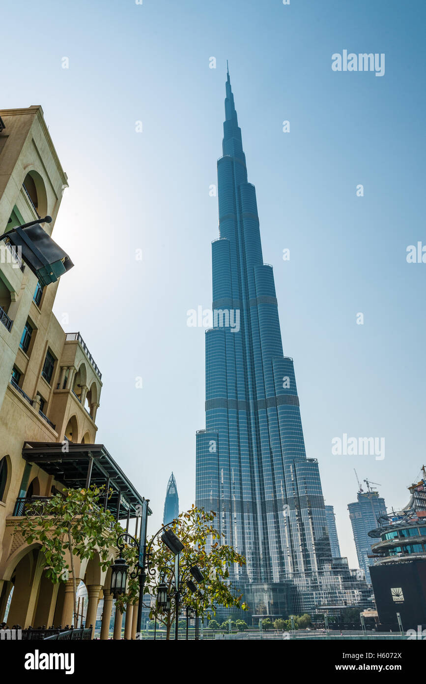 Scenic downtown view of the Burj Khalifa, Dubai, UAE, the tallest manmade structure in the world and a popular tourist - Stock Image