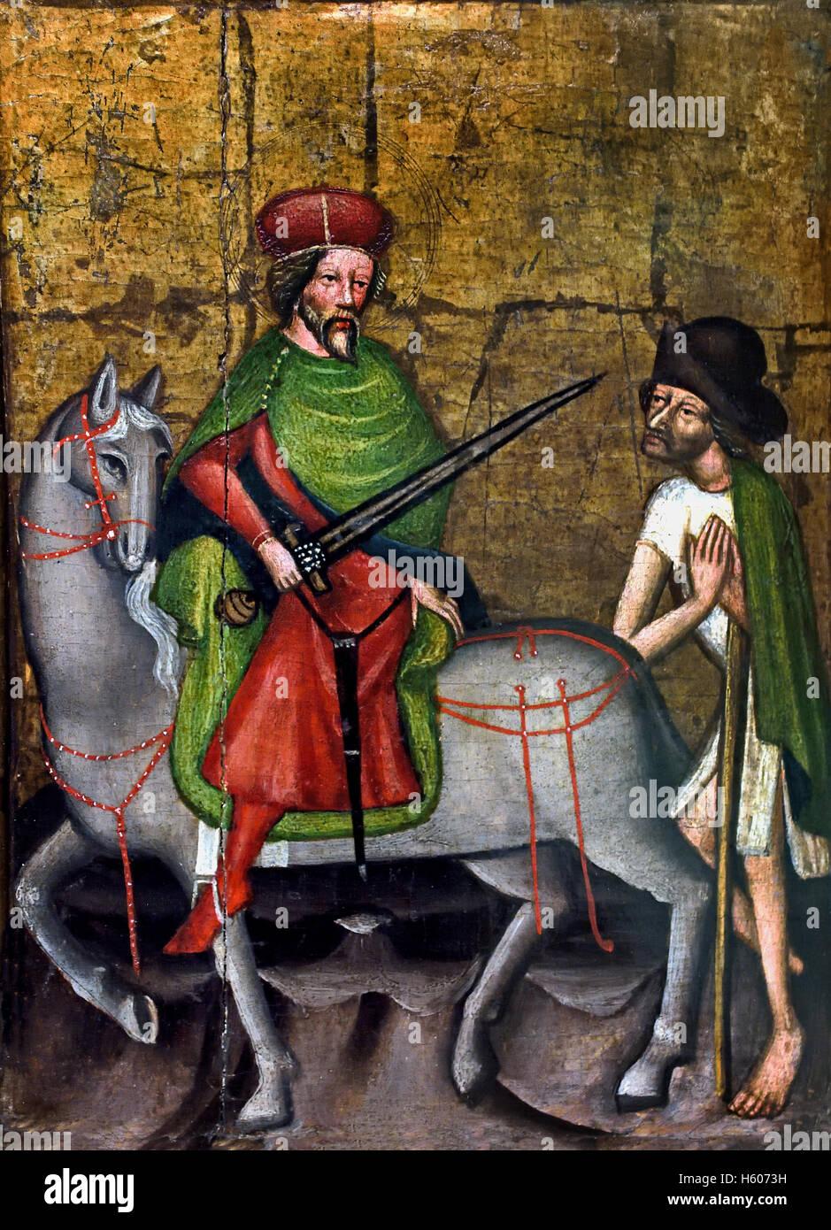 Der Heilige Martin teilt seine Mantel mit einem Bettler - Saint Martin shares his coat with a beggar 14th Century - Stock Image