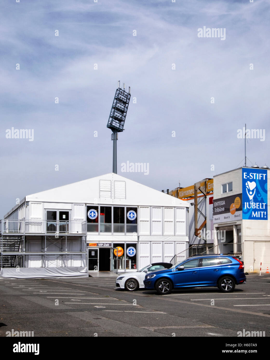 VIP hospitality area at SV Darmstadt 98 German football club stadium. Darmstadt, Hesse, Germany - Stock Image