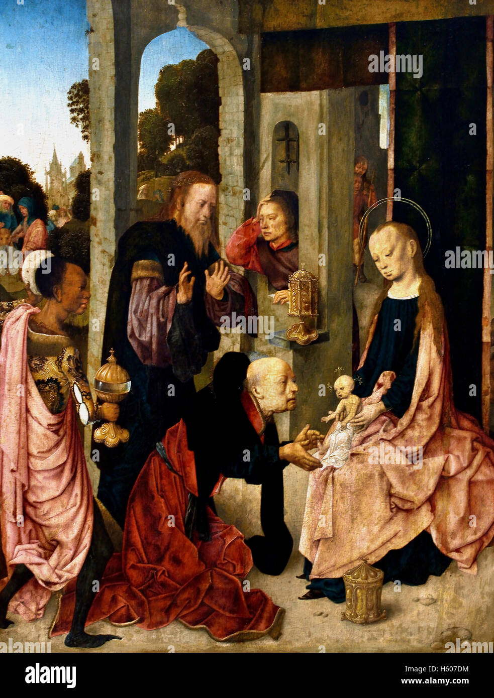 The Adoration of the Kings by  The Master of the Virgo inter Virgines was a North Dutch painter and designer of - Stock Image