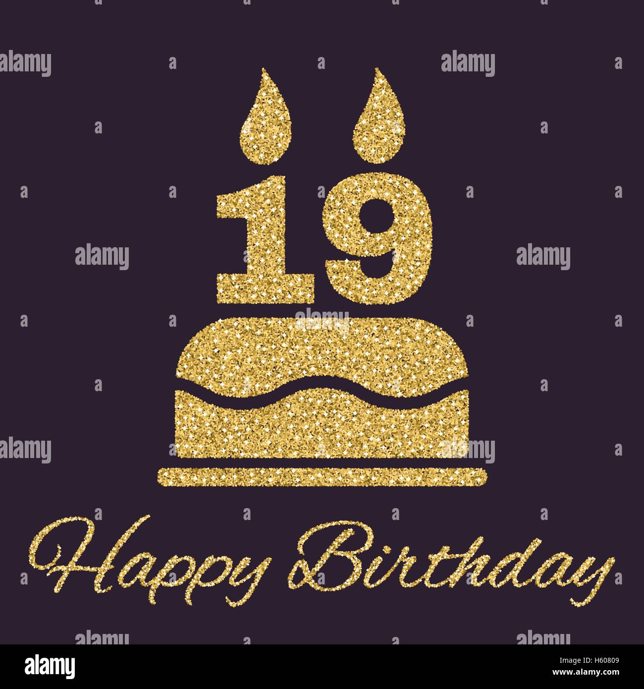 The Birthday Cake With Candles In Form Of Number 19 Icon Symbol Gold Sparkles And Glitter