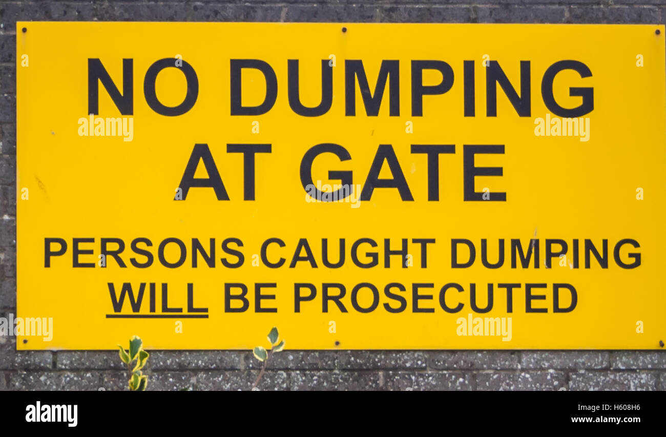 No Dumping at Gate - Stock Image