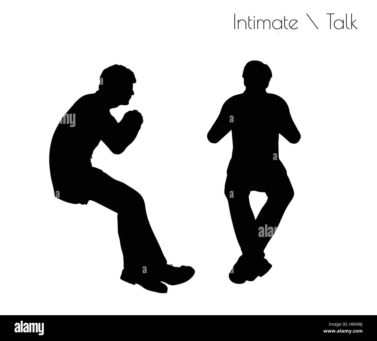 EPS 10 vector illustration of man in Conversation Intimate Talk  pose on white background Stock Vector