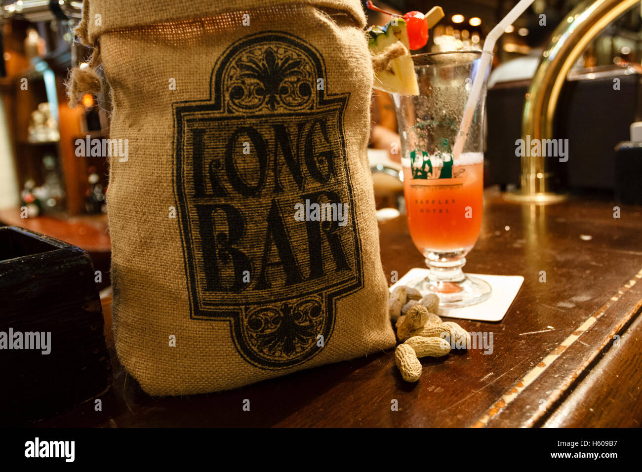Bag Of Peanuts And A Singapore Sling At The Long Bar In Raffles Stock Photo Alamy