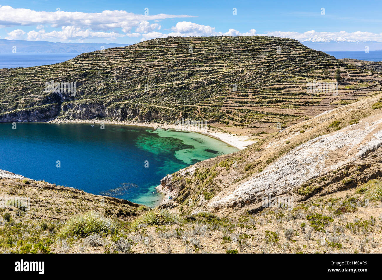 Seaside on the Isla del Sol on the Lake Titicaca in Bolivia - Stock Image