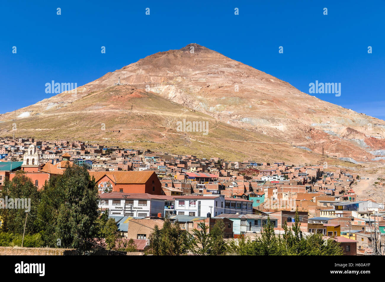 Huayna Potosi mountains famous for its silver mines in Bolivia - Stock Image