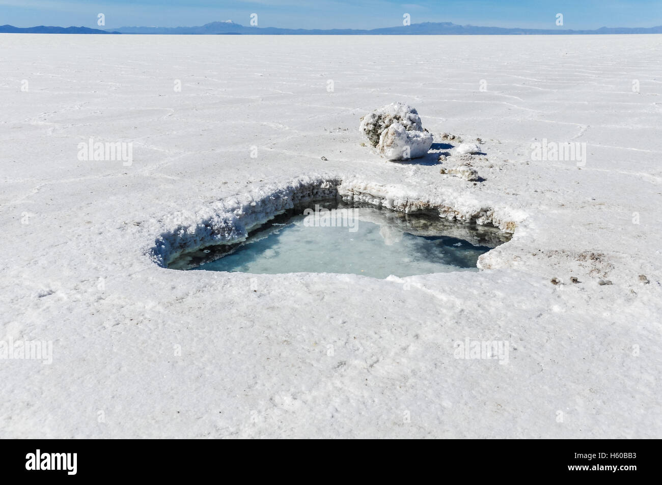 Water in a hole in Salar de Uyuni, the biggest salt flat in the world, Bolivia - Stock Image
