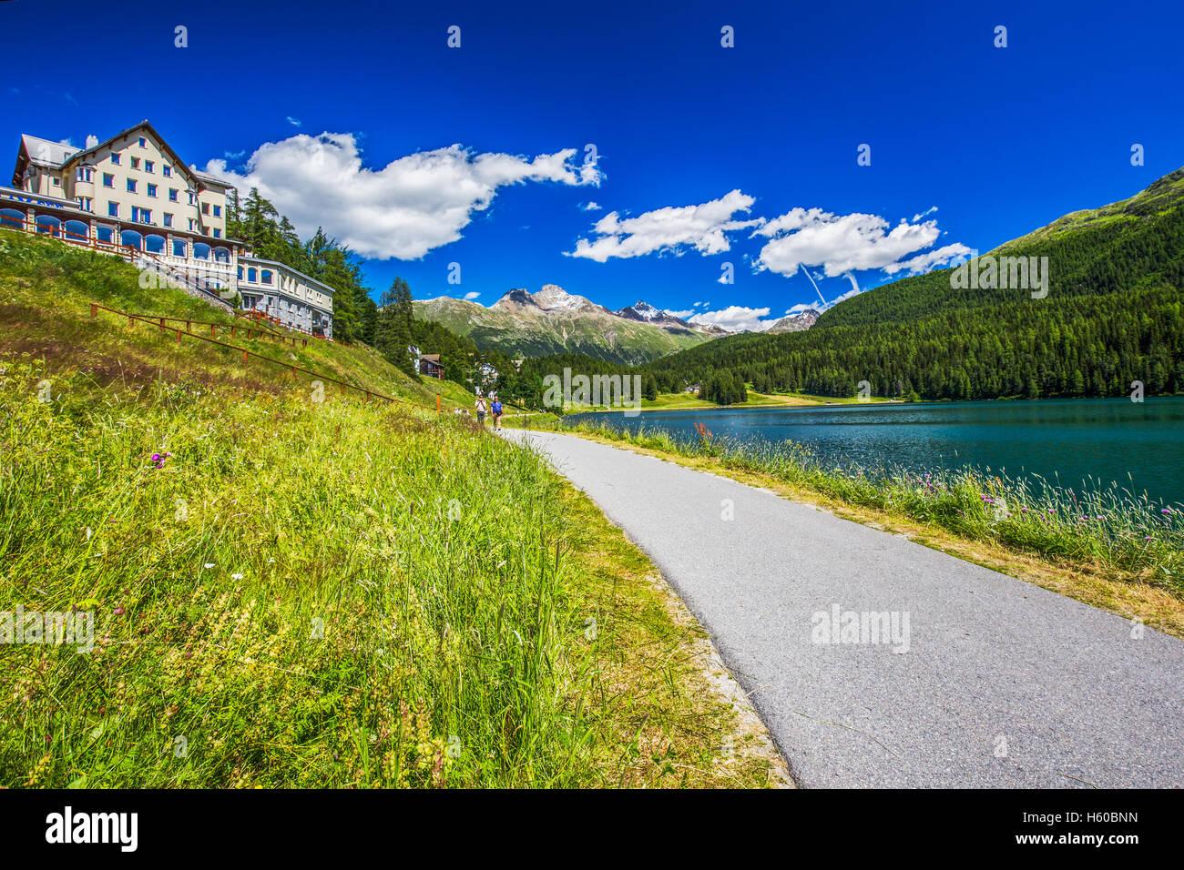 Sankt Moritz lake. St. Moritz (German - Sankt Moritz; Italian - San Maurizio) is a high Alpine resort in th - Stock Image