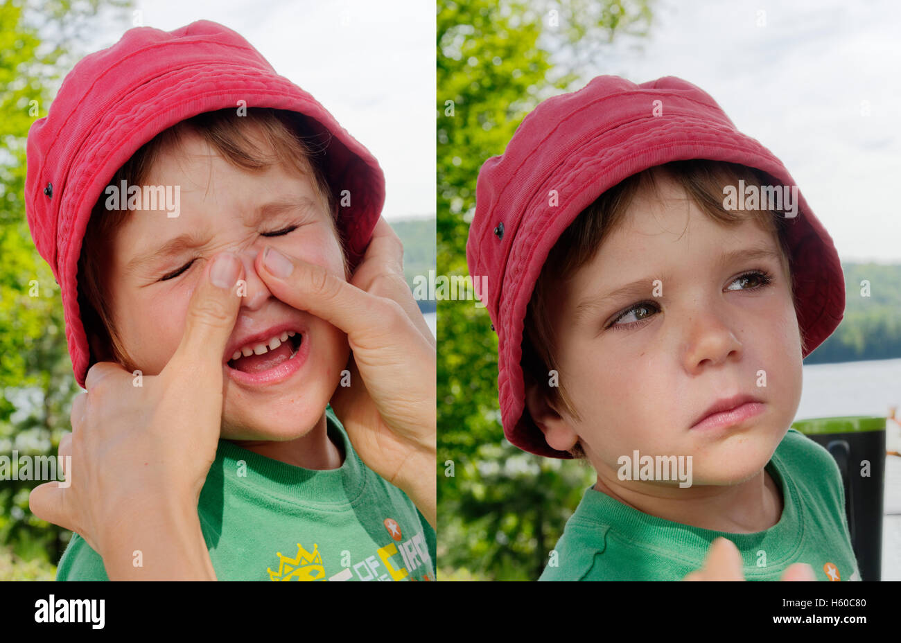 A double image of a young boy (4 yrs old) having suncream rubbed into his face and giving his mum a dirty look after - Stock Image