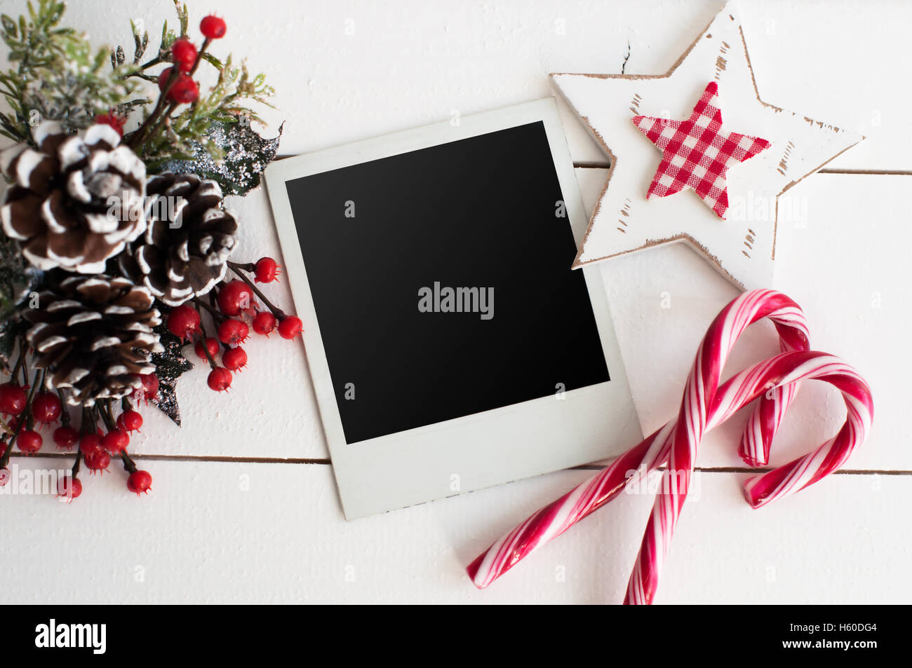 Blank photo frames and Christmas decor Stock Photo