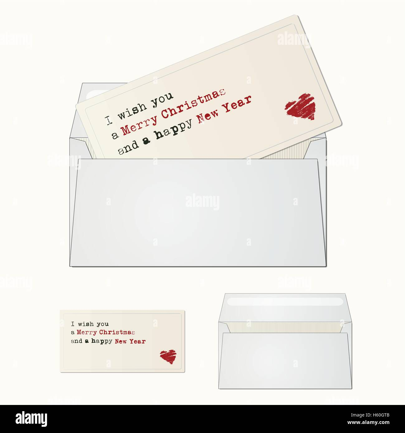 Elegant and minimal greeting card with envelope for winter season greeting. Christmas card. - Stock Image