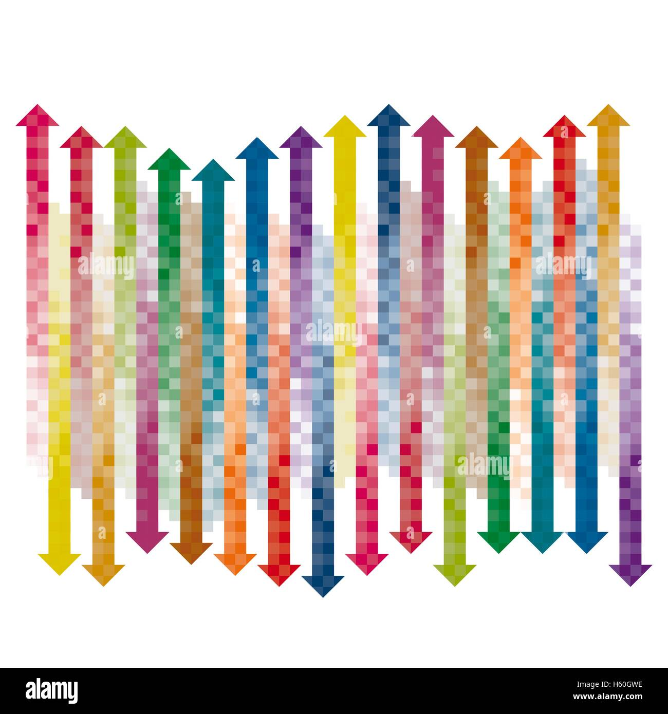 color checkered gradient arrows single layered Stock Vector