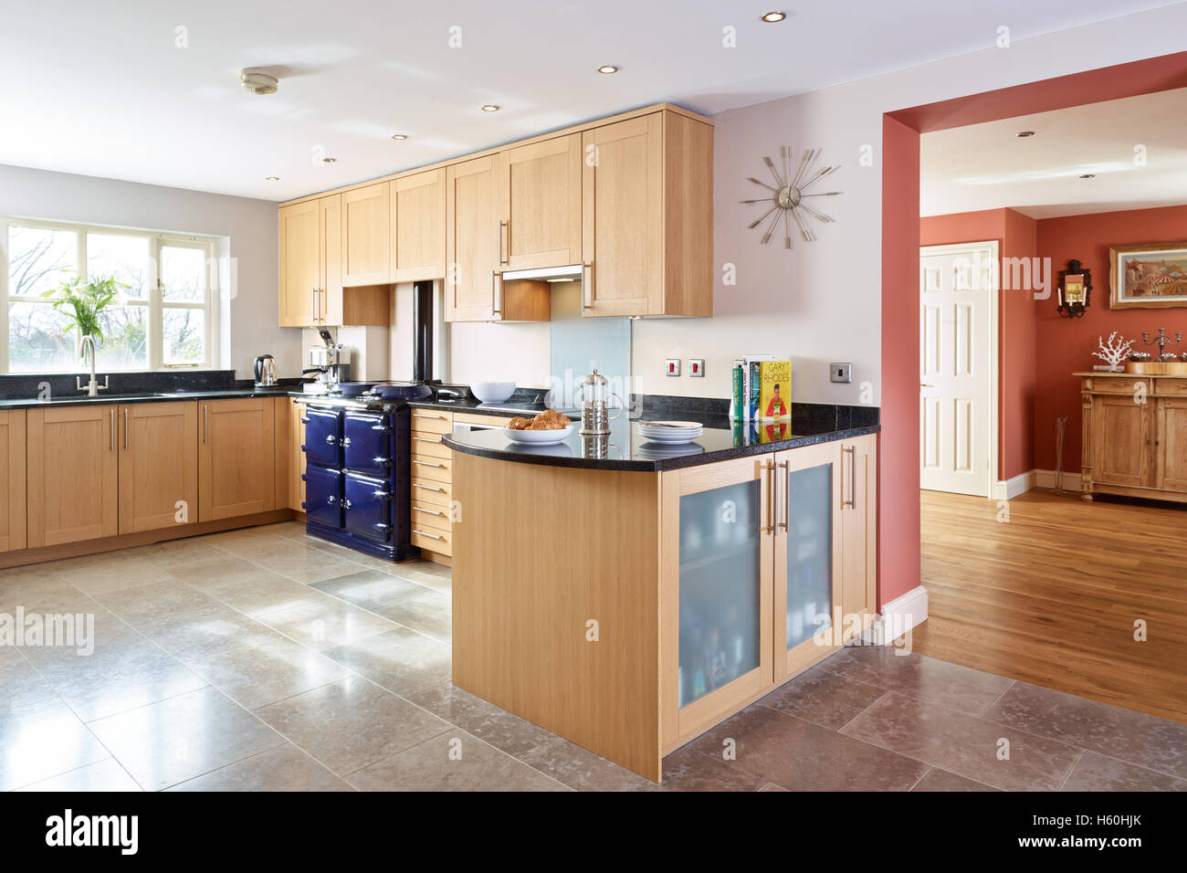A Large Modernised Beech Kitchen With Granite Worktops An Aga Uk