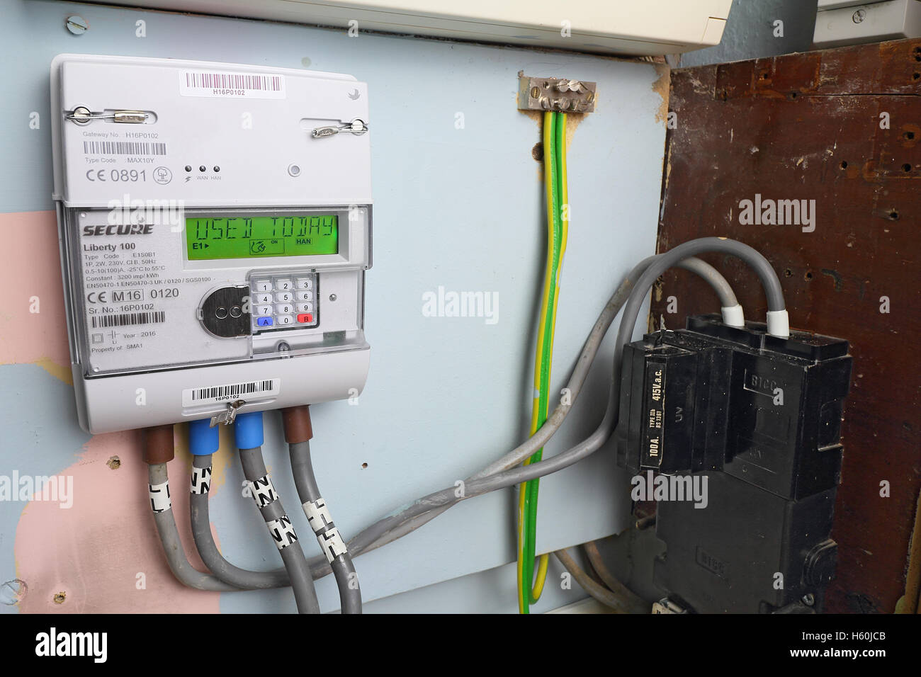 Smart gas meter can be read remotely and supply real time information to the home owner - Stock Image