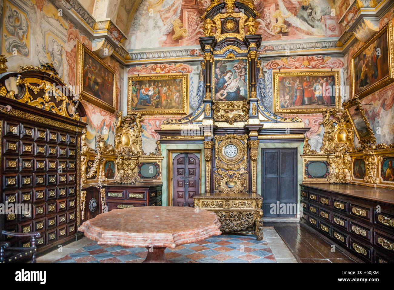 Portugal, Region Norte, Porto, ancient sacristy with baroque murals and chest drawers at Se do Porto, Porto Cathedral - Stock Image
