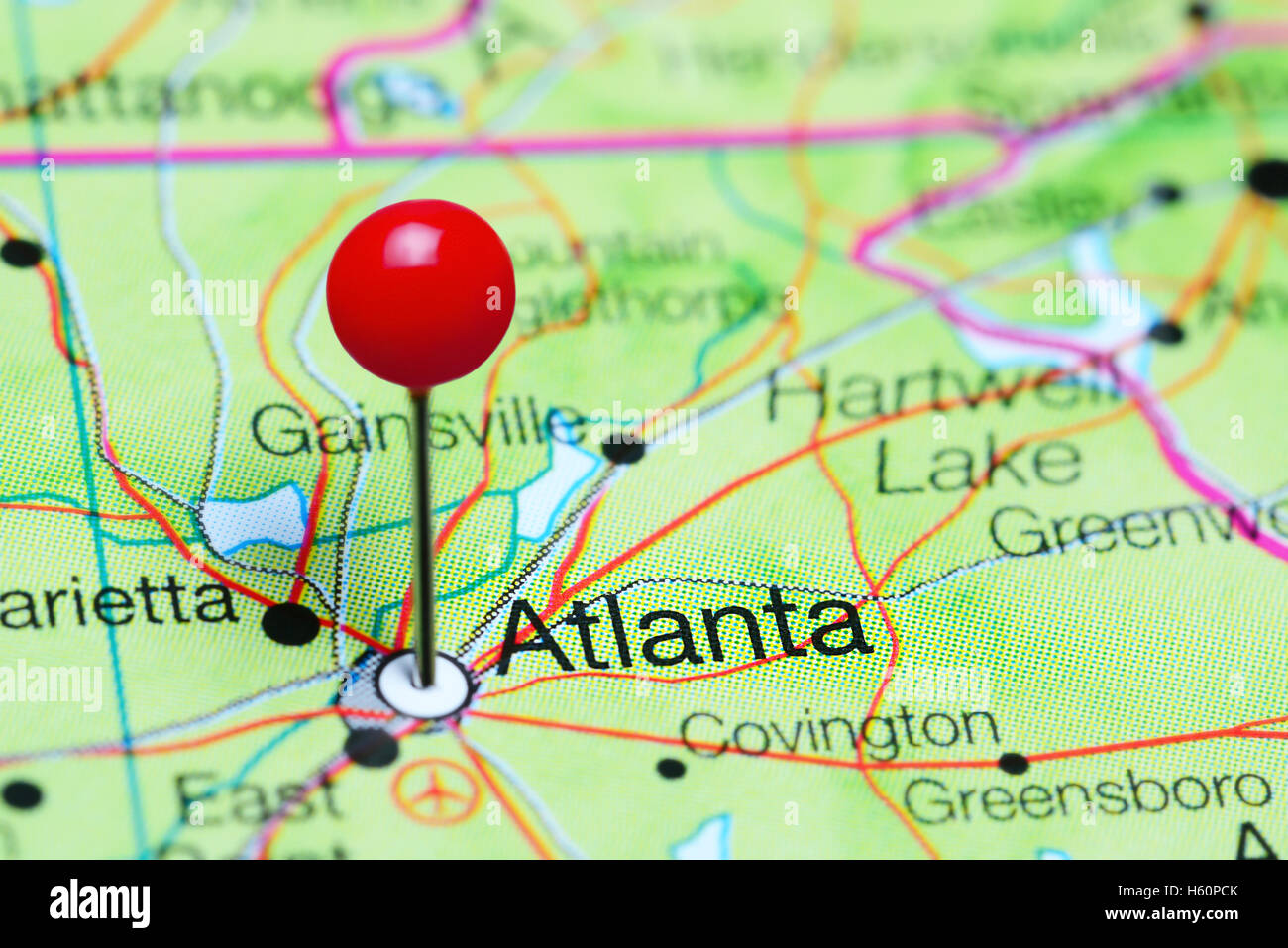 Map Of Georgia In Usa.Atlanta Pinned On A Map Of Georgia Usa Stock Photo 124178115 Alamy