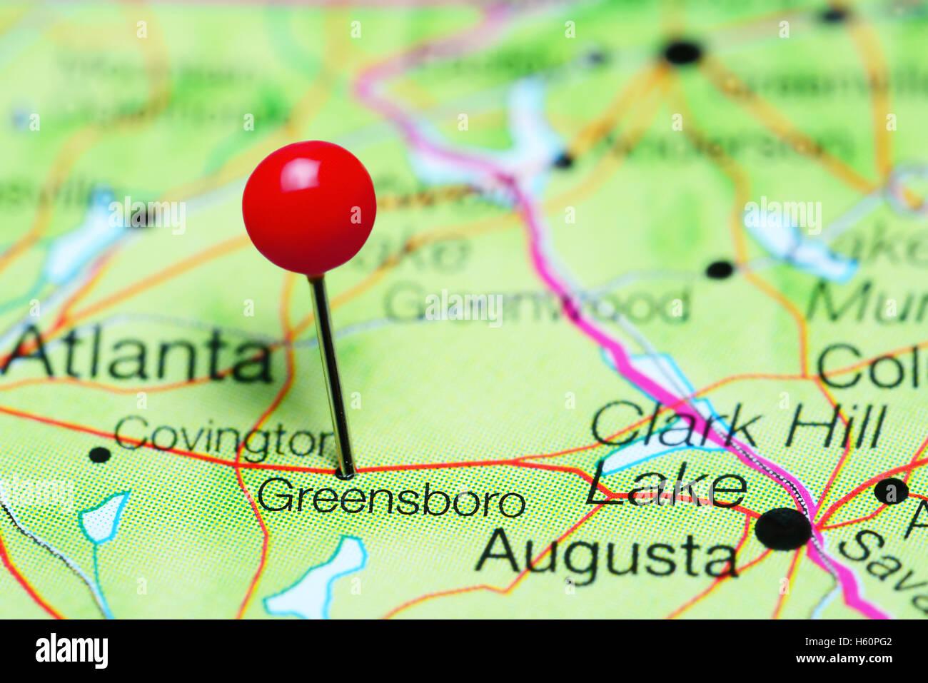 Greensboro Georgia Map.Greensboro Pinned On A Map Of Georgia Usa Stock Photo 124178210